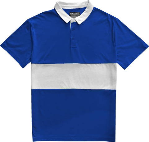 Classic Royal Blue And White Striped Mens Short Sleeve Polo Rugby Shirt