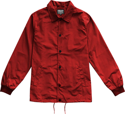 Crimson Red Mens Nylon Windbreaker Coaches Jacket