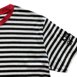 Dark Grey and White Striped Mens T-Shirt