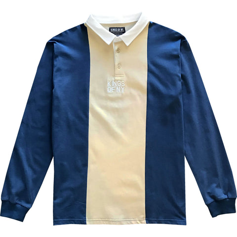 Dusty Blue and Tan Logo Vertical Striped Long Sleeve Rugby Shirt