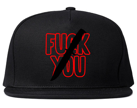 F You Knife Mens Snapback Hat Black