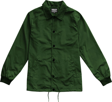 Green Mens Nylon Windbreaker Coaches Jacket