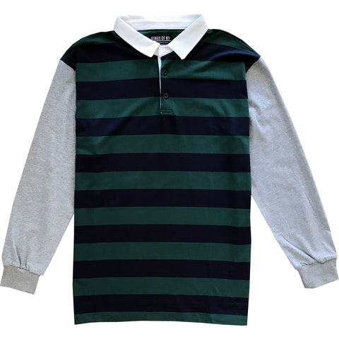 Green and Navy Blue Striped Mens Rugby Shirt