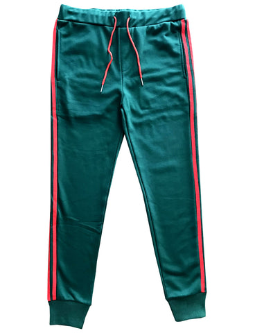 Green with Red Stripes Skinny Fit Jogger Sweatpants
