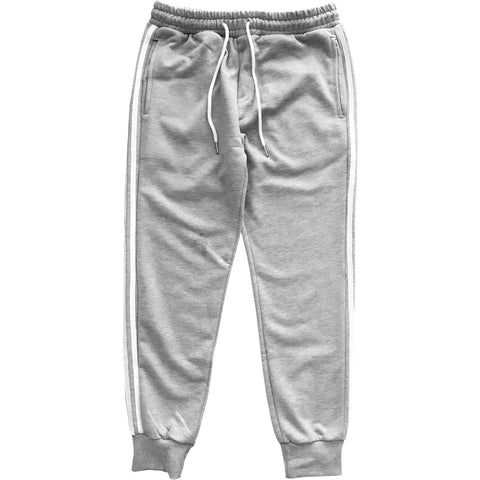 Grey with White Stripes Jogger Sweatpants