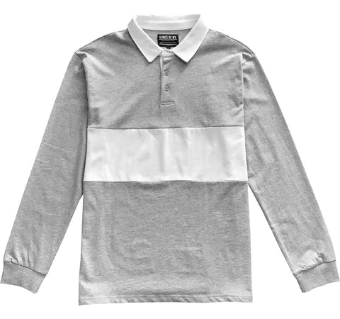Mens Heather Grey and White Striped Long Sleeve Polo Rugby Shirt