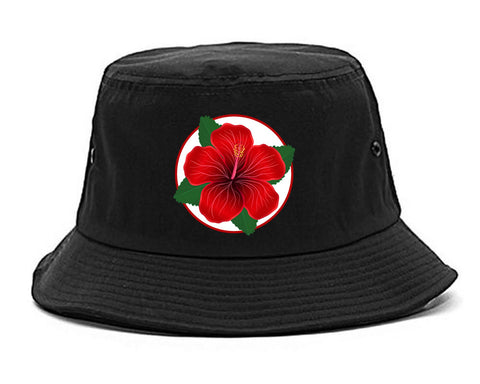 Hibiscus Flower Chest Mens Snapback Hat Black