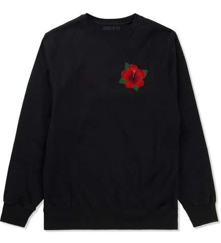 Hibiscus Flower Chest Mens Crewneck Sweatshirt Black