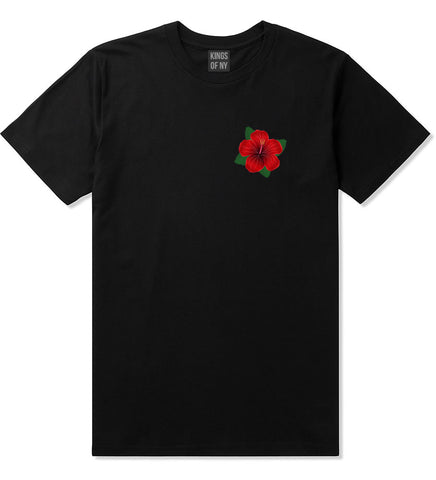 Hibiscus Flower Chest Mens T Shirt Black