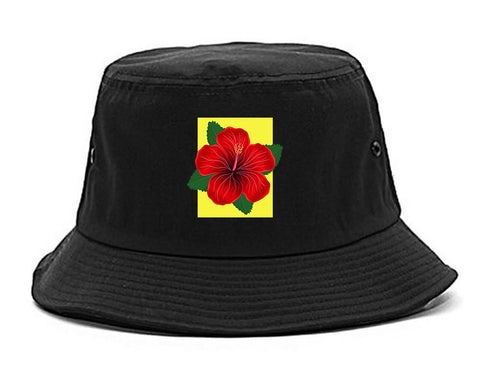 Hibiscus Flower Red Yellow Mens Snapback Hat Black