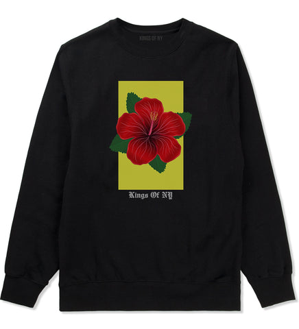 Hibiscus Flower Red Yellow Mens Crewneck Sweatshirt Black