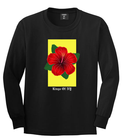 Hibiscus Flower Red Yellow Mens Long Sleeve T-Shirt Black