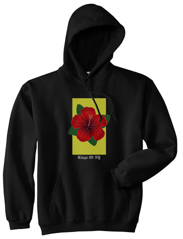 Hibiscus Flower Red Yellow Mens Pullover Hoodie Black
