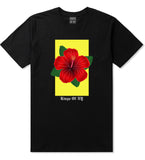 Hibiscus Flower Red Yellow Mens T Shirt Black