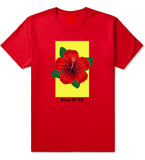 Hibiscus Flower Red Yellow Mens T Shirt Red