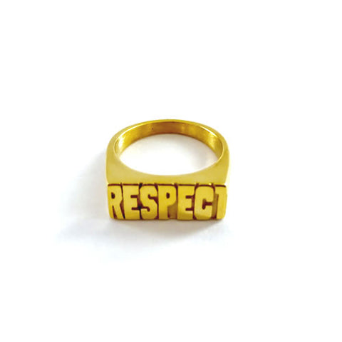 Respect Gold Name Ring