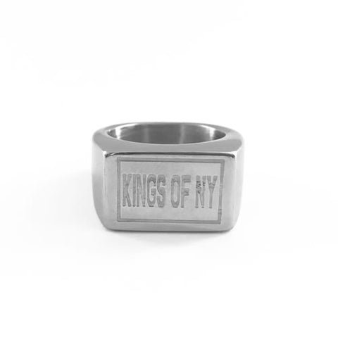 KINGS OF NY Box Logo Silver Ring
