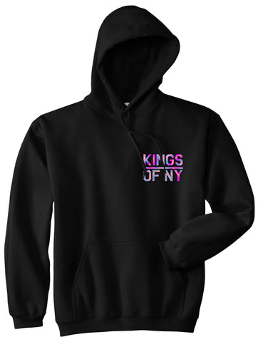 Iridescent Classic Logo Chest Mens Pullover Hoodie Sweatshirt Black