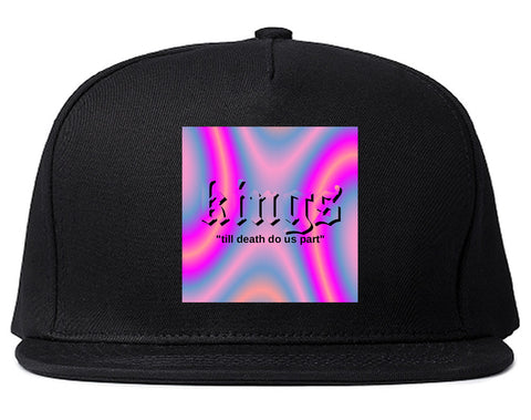 Iridescent Till Death Box Logo Mens Snapback Hat Black