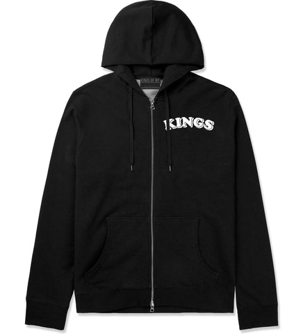 KINGS Bubble Letters Zip Up Hoodie in Black