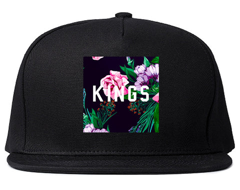 KINGS Floral Box Snapback Hat Cap in Black