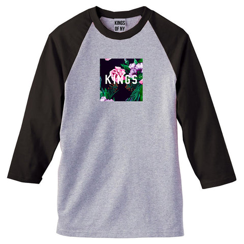 KINGS Floral Box 3/4 Sleeve Raglan T-Shirt in Grey
