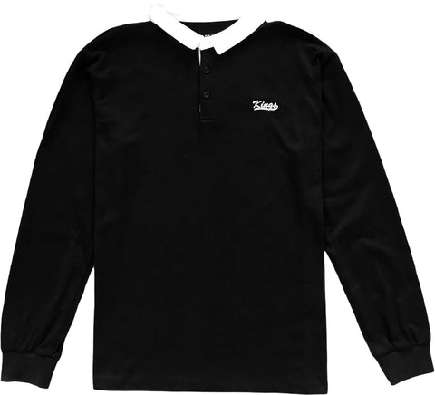 Kings Embroidered Black Long Sleeve Polo Rugby Shirt