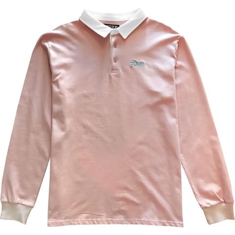 Kings Embroidered Dusty Pink Long Sleeve Polo Rugby Shirt