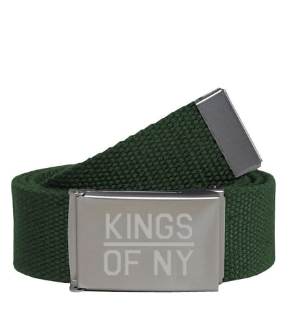 Kings Of NY Army Green Canvas Military Web Mens Belt