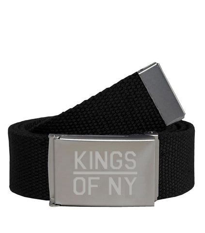 Kings Of NY Black Canvas Military Web Mens Belt