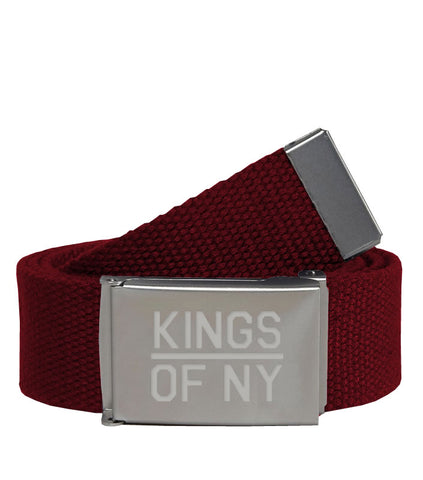 Kings Of NY Burgundy Canvas Military Web Mens Belt