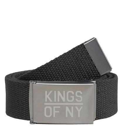 Kings Of NY Dark Grey Canvas Military Web Mens Belt