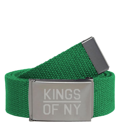 Kings Of NY Green Canvas Military Web Mens Belt