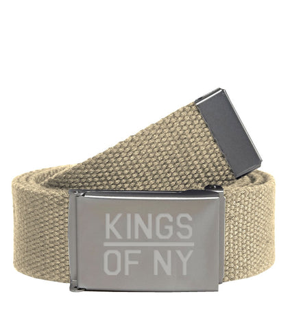 Kings Of NY Khaki Canvas Military Web Mens Belt
