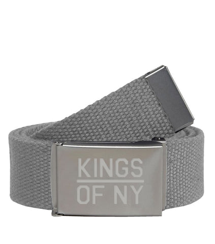 Kings Of NY Light Grey Canvas Military Web Mens Belt
