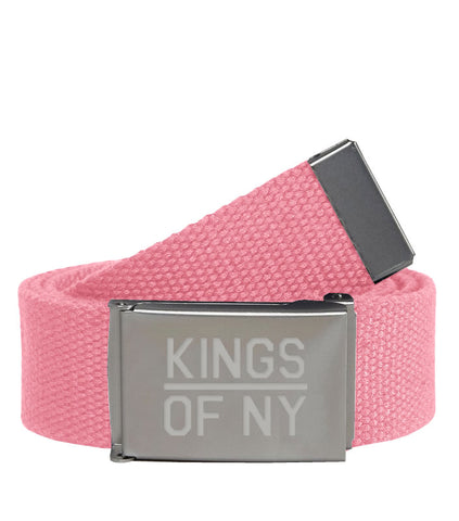 Kings Of NY Light Pink Canvas Military Web Mens Belt