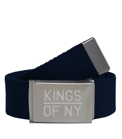 Kings Of NY Navy Blue Canvas Military Web Mens Belt