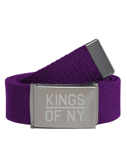 Kings Of NY Purple Canvas Military Web Mens Belt