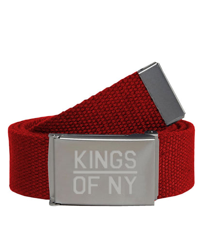 Kings Of NY Red Canvas Military Web Mens Belt