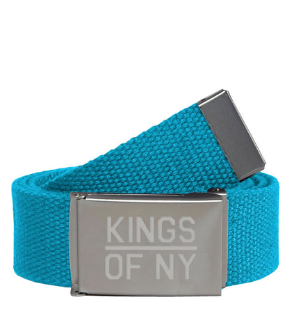 Kings Of NY Sky Blue Canvas Military Web Mens Belt
