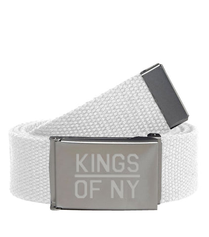 Kings Of NY White Canvas Military Web Mens Belt
