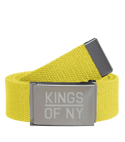Kings Of NY Yellow Canvas Military Web Mens Belt
