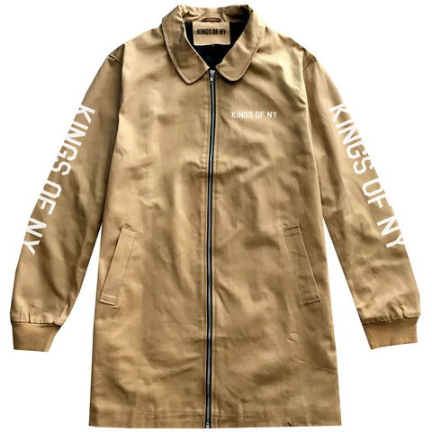Kings Of NY Branded SLEEVES Camel Men's Long Twill Jacket