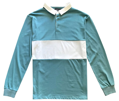 Mens Light Blue and White Striped Long Sleeve Polo Rugby Shirt