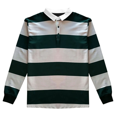 Pink and Green Comfortable Stretch Striped Mens Rugby Shirt
