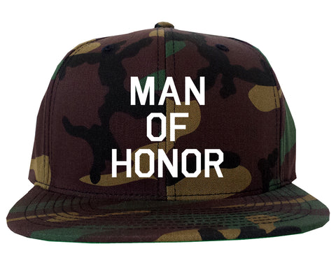e0c12992c15 ... Man Of Honor Funny Bachelor Party Wedding Mens Snapback Hat Green Camo