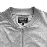 Mens Heather Grey Classic Cotton Bomber Jacket Detail