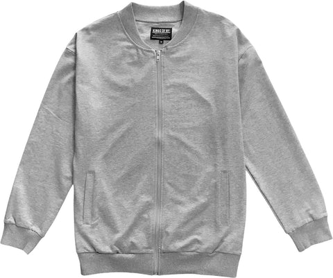 Mens Heather Grey Classic Cotton Bomber Jacket