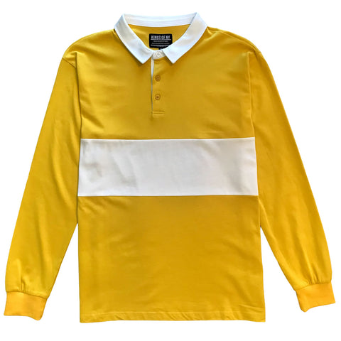 Mens Yellow and White Striped Long Sleeve Polo Rugby Shirt