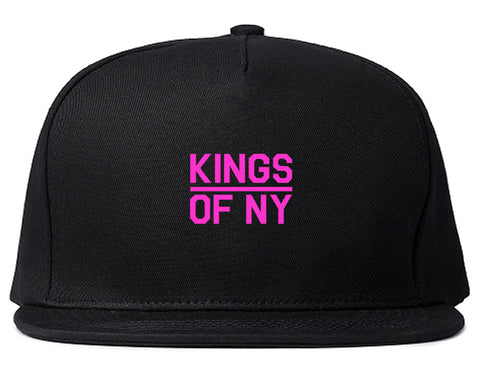 Mini Pink Classic College Logo Mens Snapback Hat Black